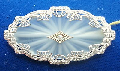 10K Gold Oval Art Deco Genuine Natural Rock Crystal Brooch With Diamond (#2609)