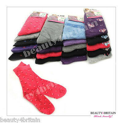 30 Pairs Women Socks Wholesale Cotton Rich 80% 2 Sizes 6 Different Designs Uk