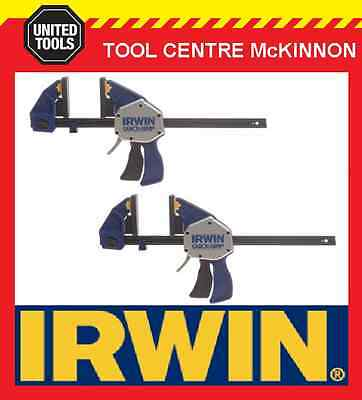"2 x IRWIN QUICK-GRIP XP 12"" / 300mm ONE HANDED BAR CLAMP – 272kg CLAMPING FORCE"
