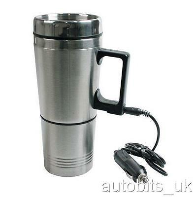12V TRAVEL HEATER STAINLESS ELECTRIC MUG JUG KETTLE COFFEE TEA + Drinking cup