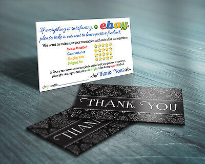 150 Thank You ebay Seller BUSINESS CARDS Elegant 5 Five Star Rating PROFESSIONAL