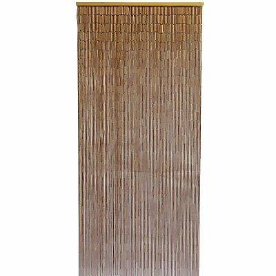 Bamboo Door Curtain with Galvanized Wire, Natural - 90x200cm