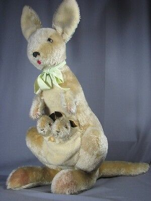 Large Old Mohair Roos Kangaroo Babies Toy Vintage Joey Steiff Era Not Jointed