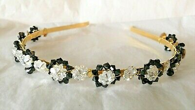 Crystal & Silk Rose Silver Tiara Bridesmaids/Communion Many Colours Available