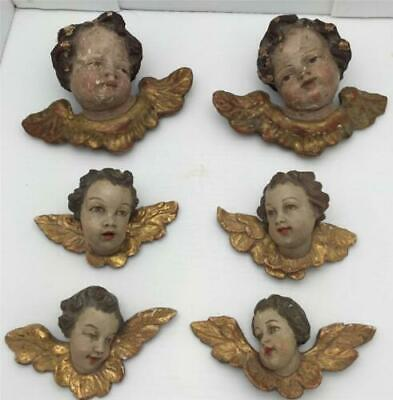 6 BEAUTIFUL  HAND CARVED WOODEN  CHERUB FIGURES EARLY to MID 18TH CENTURY