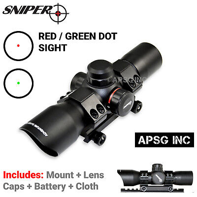 Sniper® 1X35 Red Green Dot Sight Scope Style w/ Picatinny Mount + Flip Up Caps