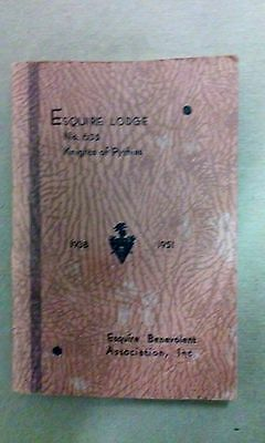 Vintage 1951 Knights of Pythias Bylaw Booklet, Esquire Lodge No. 635 New York