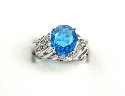 R#5065 simulated Sea Blue & White Topaz Gemstone ladies silver ring size 7.75