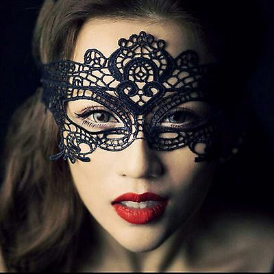 New Sexy Womens Black Lace Eye Mask Costume Party Ladies Dress Masquerade