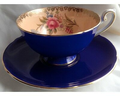 Fancy Shelley Peach & Cobalt Blue Chantilly Cup and Saucer