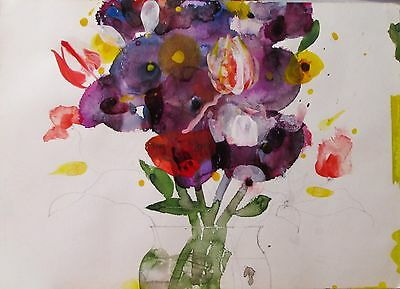 Raymond Saunders Original Watercolor Floral Study Still Life with Tulips