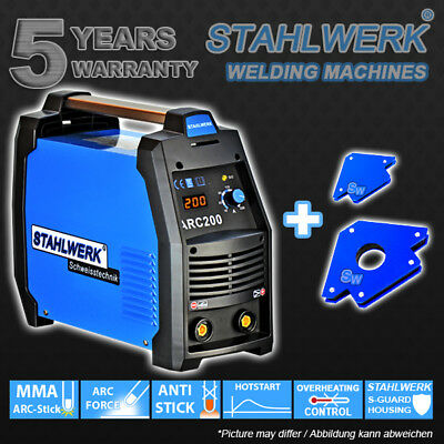Welder STAHLWERK ARC 200 S - ARC STICK MMA + 2 MAGNETIC WELDING ANGLE HOLDER