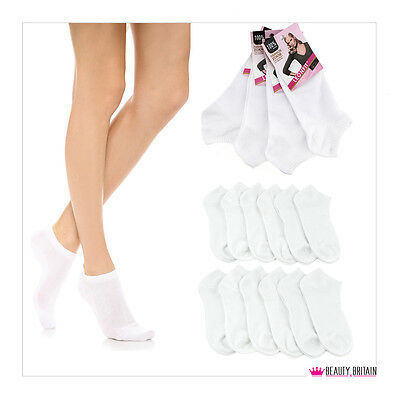 30 Pairs Women White Ankle Sport 92% Cotton Wholesale High Quality Uk Delivery