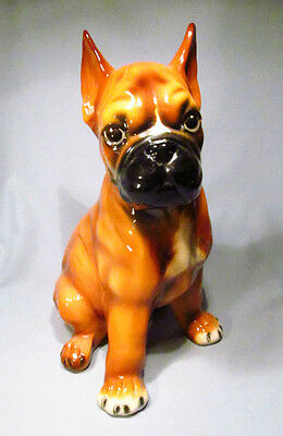 "Hand Painted Ceramic Italy Large 13"" Life-Size Boxer Puppy Dog Figurine"