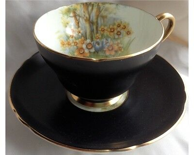 Rare Shelley Daffodil Time Satin Black Stonebridge Cup and Saucer