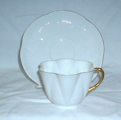 Shelley Dainty White Regency 2 Cups & Saucers White w Gold Trim