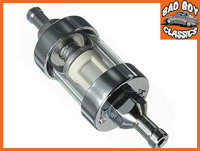 "Chrome & Glass Fuel Petrol Inline Filter For 1/4"" / 6mm Fuel Line Short Type"