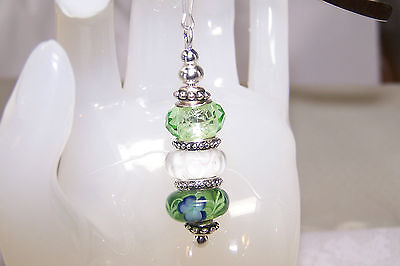 Green and Blue Flowers with White Murano Beaded Bookmark
