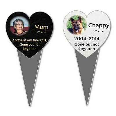 Personalised Heart Memorial Sign with Photo, Grave Plaque, Fully Weatherproof