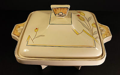 STYLISH BURLEIGH WARE ART DECO SERVING TUREEN  YELLOW TULIP PATTERN