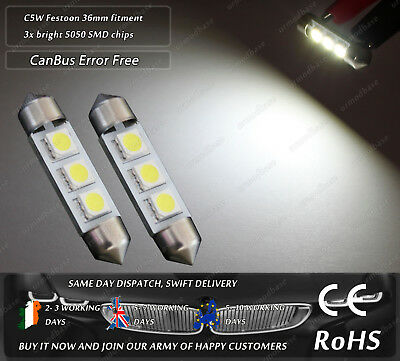 2x LED 36mm Festoon C5W 239 242 CanBus No Error Xenon White License Plate Bulbs