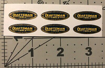 """Craftsman Tools lathe vintage style decal 1"""" 6 for 1 tool early blue gold yellow"""
