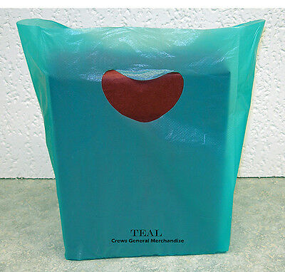 "100 TEAL Plastic Merchandise Shopping Bags 7""x3""x12"""