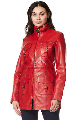 'MISTRESS' Ladies Red Gothic Style Fitted Real Lambskin Leather Jacket Coat 1310