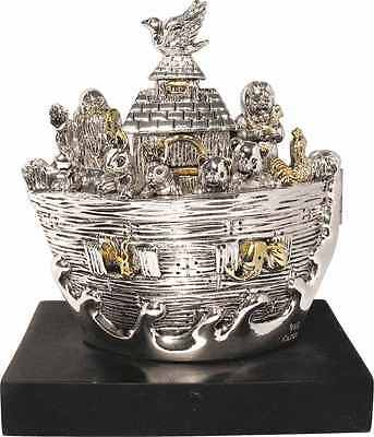 Judaica Openable Silver Noah's Ark Miniature with Golden Highlights