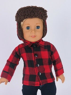 "Fits 18"" American Girl Or Boy Doll Clothes Red Black Flannel Shirt Hat Set 2Pc"