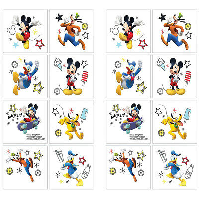 16 Disney Mickey Mouse Clubhouse Temporary TATTOOS Birthday Party Favors 1 Sheet