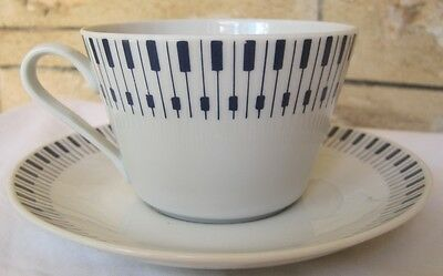 Vintage Danish Lyngby TANGENT Cup Saucer Blue & White Retro Pattern