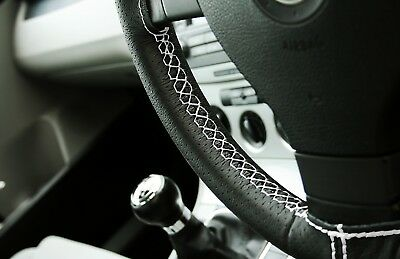 Land Rover Discovery 89-98 Black Perforated Leather White Steering Wheel Cover