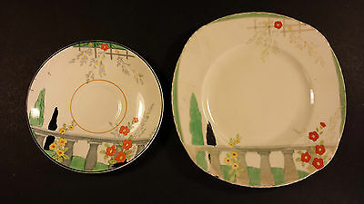 HAND PAINTED ORIGINAL ART DECO BURLEIGH WARE RIVIERA PATTERN SIDE PLATE & SAUCER