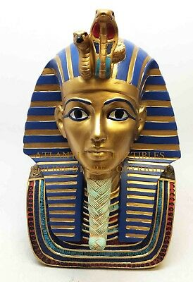 """Ancient Egyptian Decorative Pharaoh King Tut Figurine Bust 9"""" Tall Statue Cool"""