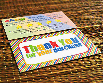 50 ebay Seller THANK YOU Business Cards 5 Five Star Feedback COLORFUL Fun NEW