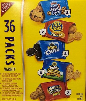 Nabisco Cookies & Crackers Variety ~ 36 Pks, Nutter Butter, Chocolate Chip, Oreo