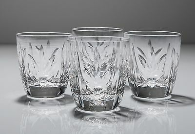 Set of 4 Vintage Cut Glass Lead Crystal Tumblers - 3.5 fl.oz. Sprig Mitre Design