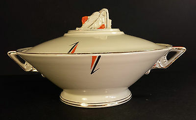 BURLEIGH WARE ART DECO SERVING TUREEN  GEOMETRIC ORANGE & GOLD PATTERN