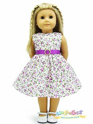 "Doll Clothes fits 18"" American Girl Handmade Purple Floral Rhinestone Dress"