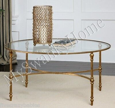 Elegant OVAL IRON Cocktail Coffee Table GOLD Traditional Classic Antique Glass