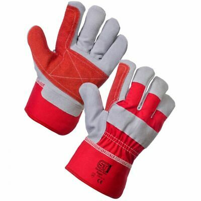 10 Pairs Heavy Duty Double Palm Rigger Gloves  Leather Work Safety Gauntlets