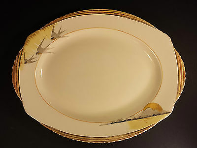 "LARGE OVAL ART DECO BURLEIGH WARE ZENITH DESIGN SUN RAY 14.5""  SERVING PLATTER"