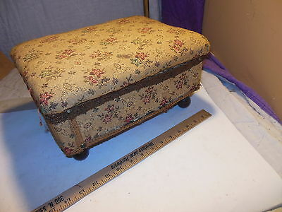 Antique Vintage Strand Footstool 13X10X8 Sewing Box Storage Lid Foot Stool Usa
