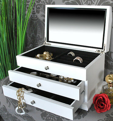 schmuckkasten beauty box schmuckbox wei glasdeckel landhaus stil neu eur 34 90 picclick de. Black Bedroom Furniture Sets. Home Design Ideas