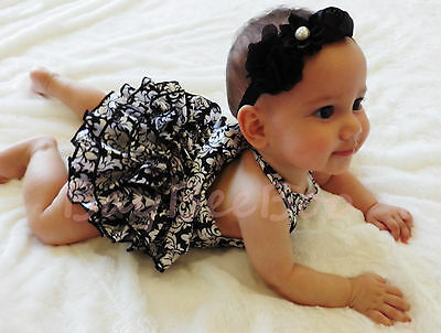 New Baby Girls Toddler Clothes Black Damask Bubble  Romper Sizes 00, 0, 1