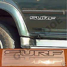 2x small SURF decal / sticker, Toyota Hilux Surf.