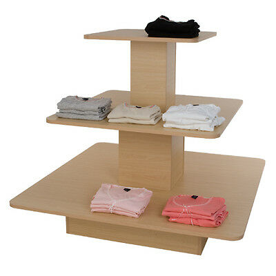 3 Tier Square Maple Display Table Rack Stand - For NEW YORK PICKUP ONLY