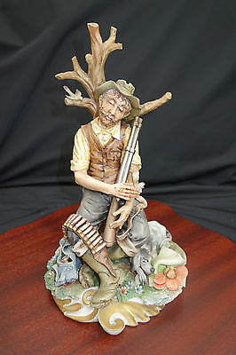 """CAPODIMONTE FIGURINE """"THE TIRED HUNTER"""" BY CORTESE WITH CERTIFICATE 1974"""