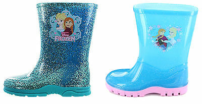 Girls Toddler Disney Frozen Elsa Anna Winter Wellies Shoes Boots Blue Size 6-12